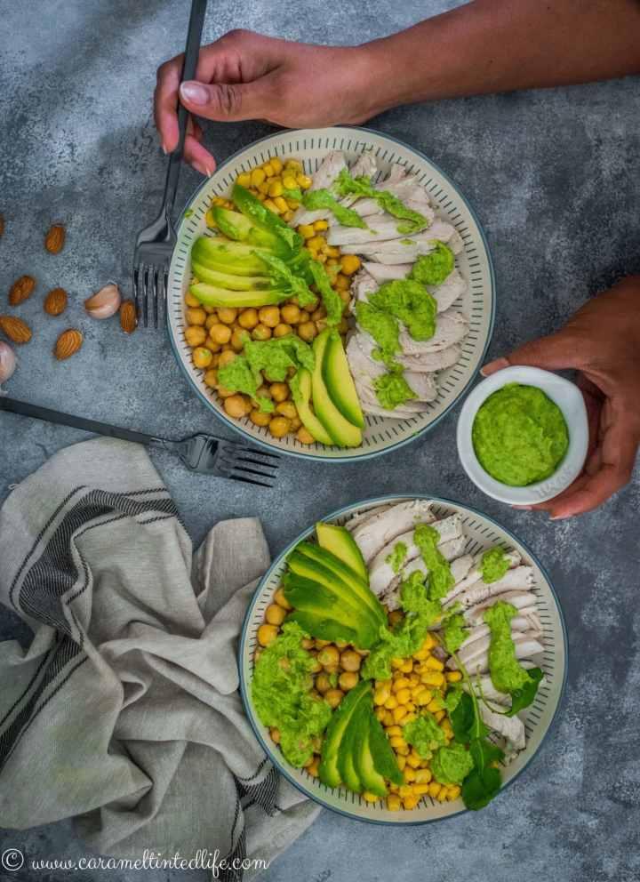 gressn goddess chicken salad in bowls