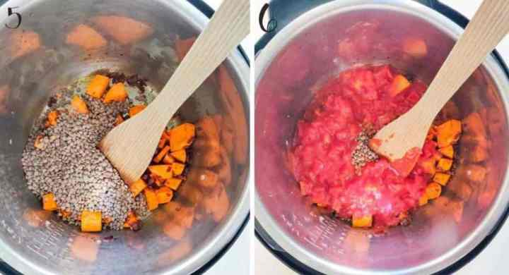 Cooking brown lentils with canned tomatoes in the Instant Pot