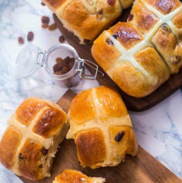 Hot Cross buns on a tray
