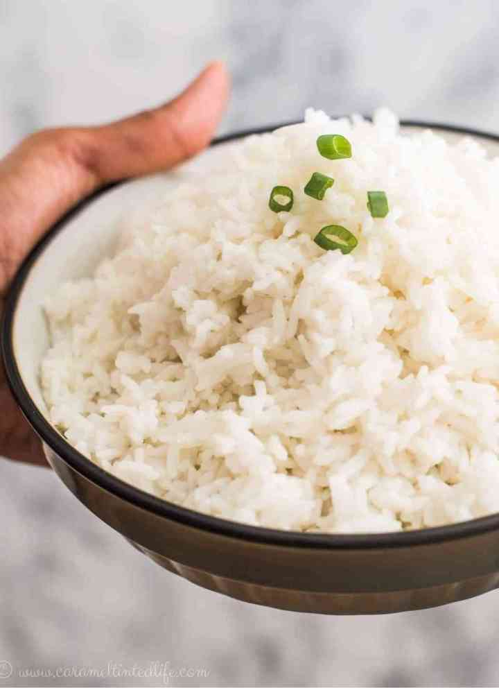 Close up view of jasmine rice on a plate