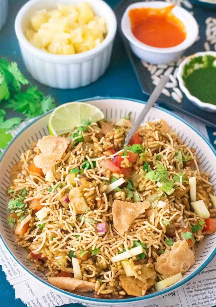 Close-up of bhel puri on a plate