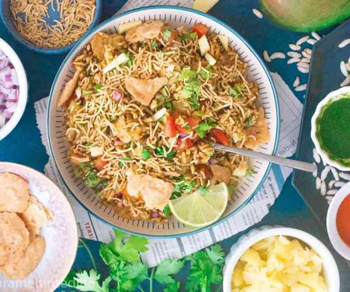 Bhel puri with paüdi, onions, corriander, potatoes and chutneys