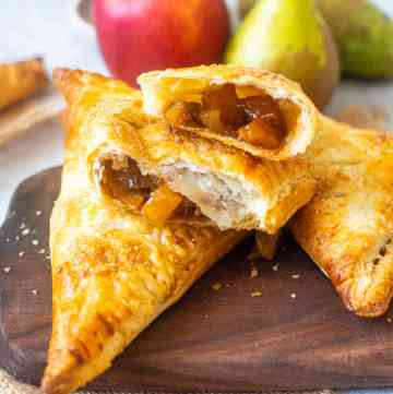 Apple an pear turnover broken into two