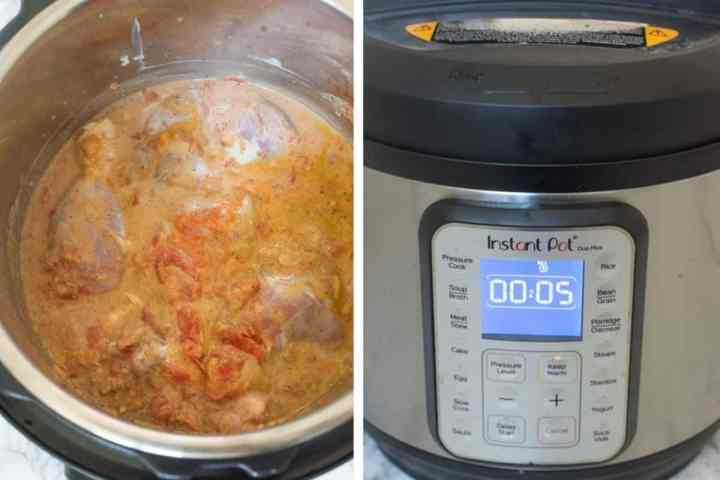 Pressure cooking the chicken in the Instant Pot