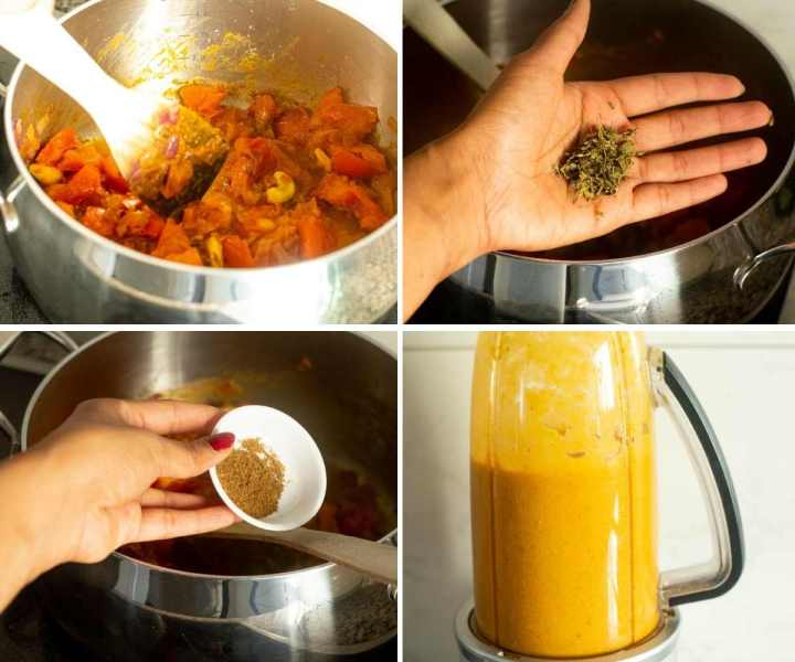 Collage of images showing the making of sauce for malai kofta