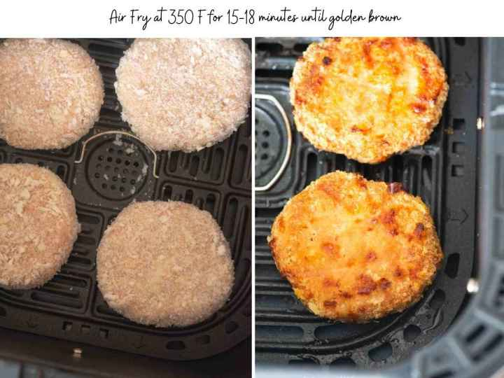 Images showing before and after chicken patties being air fried