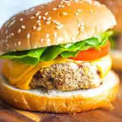 Chicken burger on a wooden board