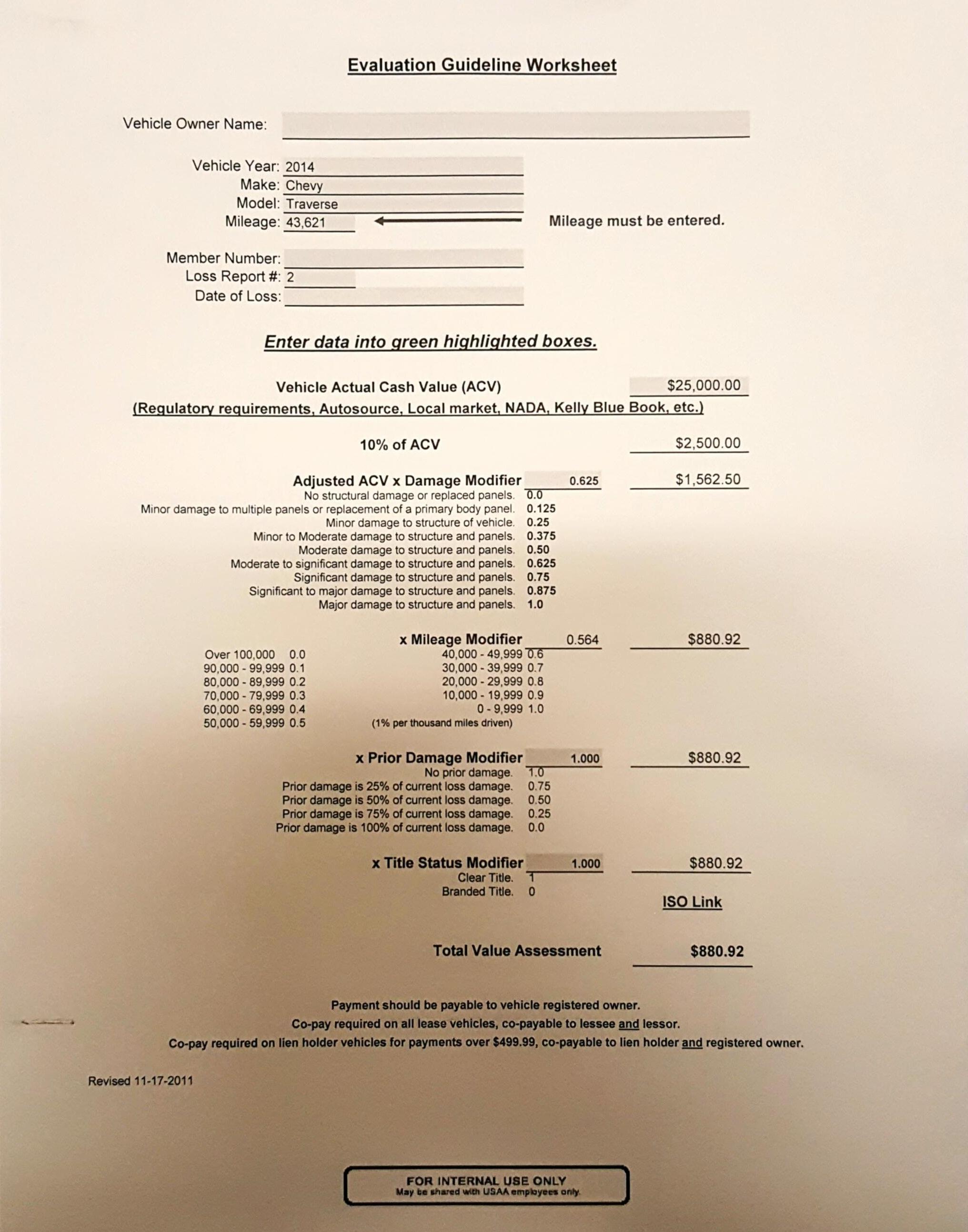 Usaa Evaluation Guideline Worksheet 17c Diminished Value
