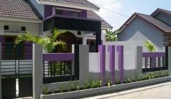 contoh Pagar Rumah minimalis dengan kombinasi material tembok dan besi