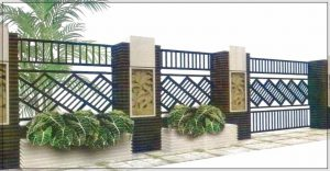 Gambar desain pagar rumah minimalis dengan batu alam model frame