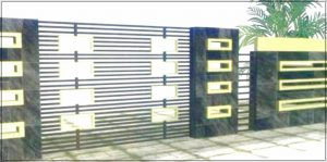 Contoh model desain pagar rumah minimalis dengan batu alam kombinasi bahan logam