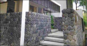 Gambar contoh desain pagar rumah minimalis dengan batu alam