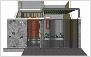 Model pagar batu alam rumah minimalis type 36 kombinasi logam