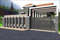 Desain pagar rumah minimalis modern 1 lantai kombinasi batu alam dan besi