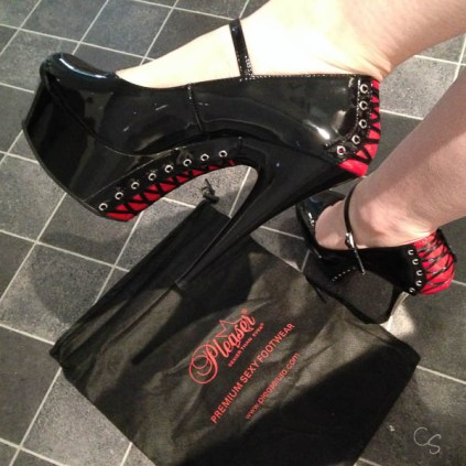 Pleaser black and red corset back heels