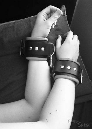 wearing rimba wide leather wrist cuffs cara sutra-1