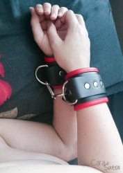 wearing rimba wide leather wrist cuffs cara sutra-2 | Beginners to BDSM