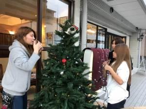 クリスマスツリーを組み立てるスタッフ