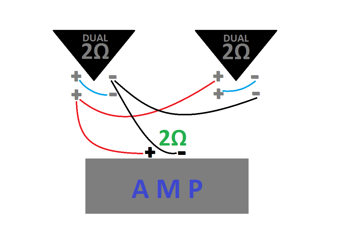 how to wire subs series parallel ohms and single vs dual voice if you plan on running one amp per 2 subs then you would wire each amp up using this diagram
