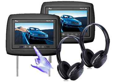 headrest tv and wireless headphones