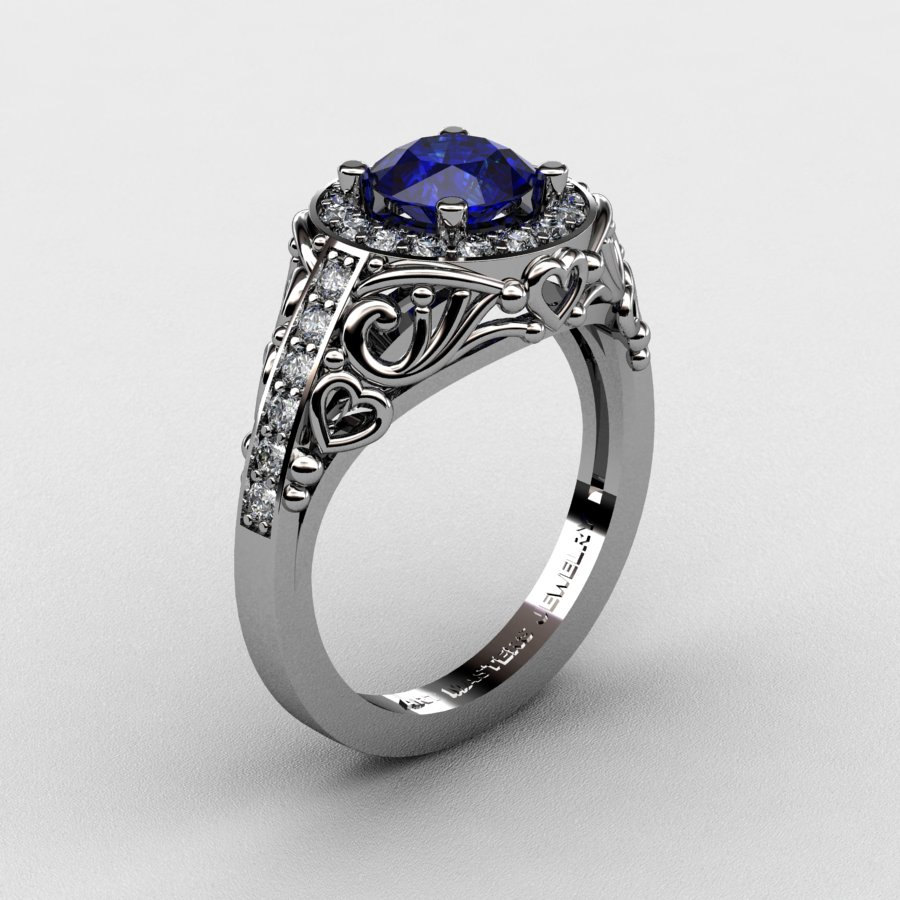 Italian 950 Platinum 10 Ct Blue Sapphire Diamond Engagement Ring Wedding Ring R280PLATDBS