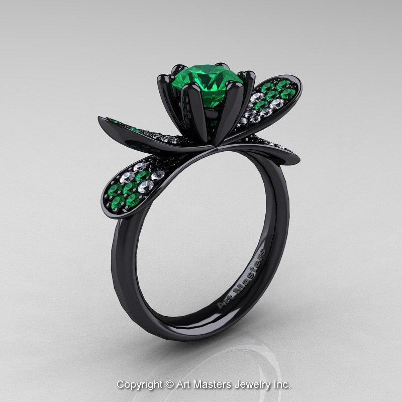 14K Black Gold 1.0 Ct Emerald Diamond Nature Inspired