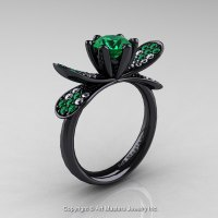 14K Black Gold 1.0 Ct Emerald Diamond Nature Inspired