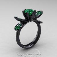 14K Black Gold 1.0 Ct Emerald Diamond Nature Inspired ...