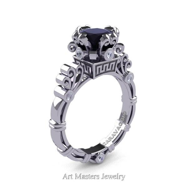 dcfaff54e ... Engagement Ring Sets · Caravaggio Art Masters Black Diamond 14K White  Gold