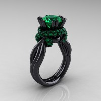 High Fashion 14K Black Gold 3.0 Ct Emerald Knot Engagement