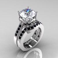 Classic 14K White Gold 3.0 Ct White Sapphire Black Diamond ...