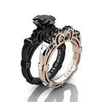 Caravaggio 14K Black and Rose Gold 1.25 Ct Princess Black ...