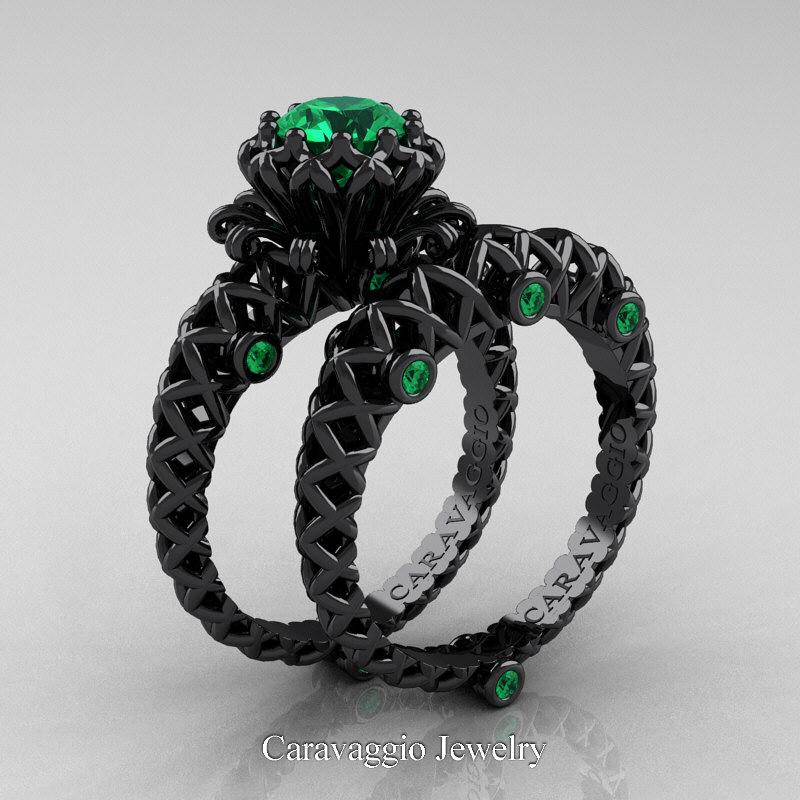 Caravaggio Lace 14K Black Gold 1.0 Ct Emerald Engagement
