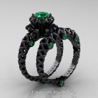 Caravaggio Lace 14K Black Gold 1.0 Ct Emerald Engagement