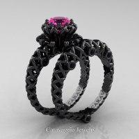 Caravaggio Lace 14K Black Gold 1.0 Ct Pink Sapphire Black ...