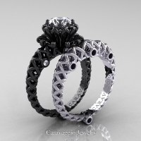 Caravaggio Lace 14K Black and White Gold 1.0 Ct White