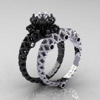 Caravaggio Lace 14K Black and White Gold 1.0 Ct White ...