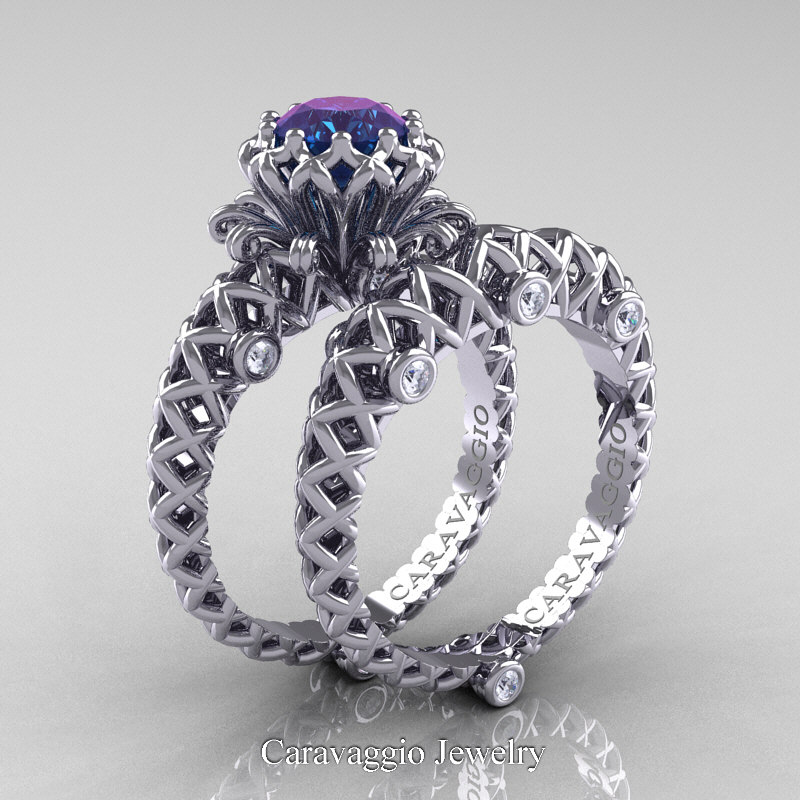 Caravaggio Lace 14K White Gold 10 Ct Alexandrite Diamond