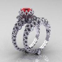 Caravaggio Lace 14K White Gold 1.0 Ct Ruby Diamond ...
