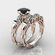 b34b17a51 Art Masters Caravaggio Trio 14k White Gold 1.25 Ct · Black and White Gold  Diamond Engagement Ring Sets