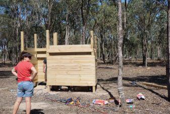 Kate surveying the handywork