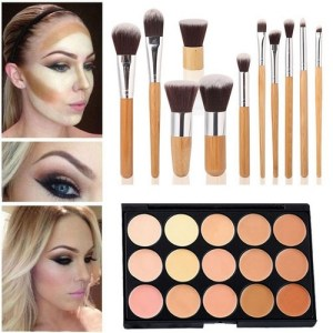 Mefeir 15 Colors Concealer Camouflage Makeup Palette Contour Face Contouring Kit +11 Pcs Makeup Brush