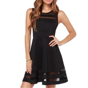 Amoin Women Summer Dress O-neck Sleeveless Elegant Ladies Mesh Chiffon Dress Casual Sheer Solid Black Flare Short Party Dress