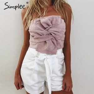 Simplee Sexy suede bow strapless top Casual spring zipper camisole tank women tops Elegant evening party club crop top bustier