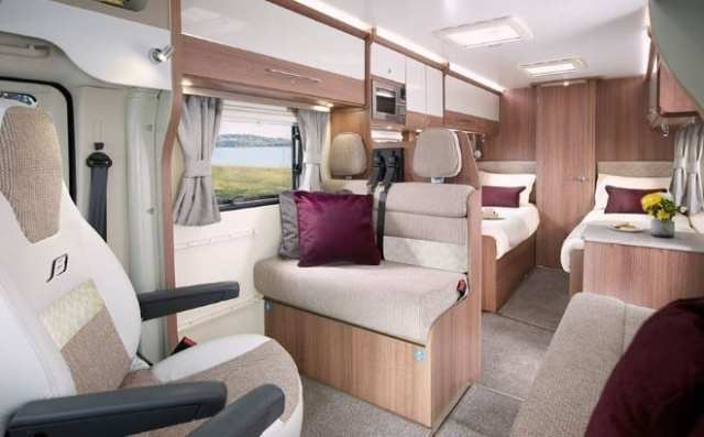 Alliance Silver Edition 76-4T interior with 'Eucalyptus' furniture finish and 'Finchley' soft furnishings
