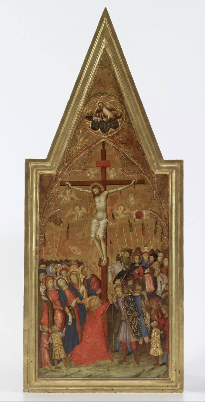 Naddo Ceccarelli (Italian, active mid-14th century), The Crucifixion, Siena, Italy, 1350/59. Tempera and gold on panel, 76 x 31.6 x 2.5 cm. The Walters Art Museum, Baltimore, MD, bequest of Henry Walters, 1931, 37.737 Gold-ground panel paintings proliferated in the later Middle Ages across Europe, where gold was associated with the divine realm. A small amount of gold could be used to great effect when hammered into thin sheets of gold leaf. In this fashion painters were able to make a grand visual statement with a minimal amount of the precious material, which was imported across great distances. Preparing a wooden panel for gilding was a laborious process. The areas to be gilded were coated with an adhesive (typically bole, a reddish clay) to which the gold leaf was applied and then burnished. Additional decoration could then be incised or stamped into the gold leaf.