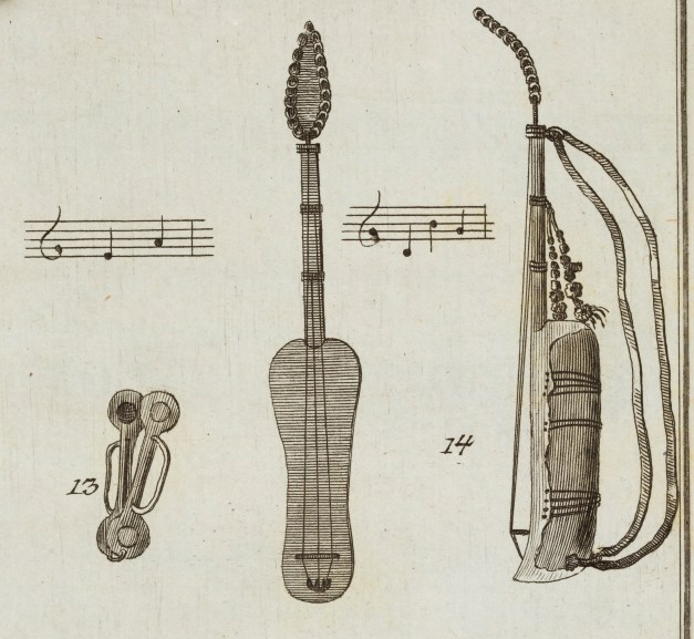 """Drawing of a guinbri. Reproduced from Georg Hjersing Høst, Reports on Morocco and Fes (Efterretninger om Marokos og Fes: Samlede der i Landene fra ao. 1760 til 1768). Copenhagen: N. Möller, 1779. Melville J. Herskovits Library of African Studies, Northwestern University, Evanston, IL, DT308.H83 1779. Photograph by Clare Britt From at least the 19th century, the word """"Gnawa"""" has been used in Morocco to refer to the descendants of enslaved people from the Western Sudan. The term is now associated with """"black"""" Moroccans who entertain in public squares and on concert stages. The guinbri is the most prestigious of all Gnawa musical instruments. This 18th-century account by Georg Høst of his travels in Morocco is the first known mention of a guinbri in European literature. The instrument may derive from one that the 14th-century Muslim traveler Ibn Battuta described as being played at the court of the Mali Empire, which he called the gunburi."""