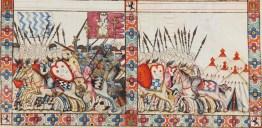 Scene of crusades (Cantiga 81), from the Cantigas de Santa María, E Codex. 13th century. El Escorial, Spain, Ms. T-I-1