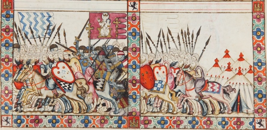 Scene of crusades (Cantiga 81), from the Cantigas de Santa María, E Codex. 13th century. El Escorial, Spain, Ms. T-I-1