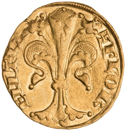 Florin, with the emblem of Florence (obverse), Florence, 1252/1303. Gold, diameter 1.23 cm. American Numismatic Society, New York, 1954.237.214. Photograph courtesy of the American Numismatic Society